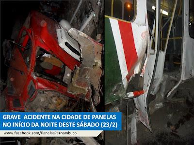 Acidente grave envolvendo ônibus de transporte coletivo e carreta