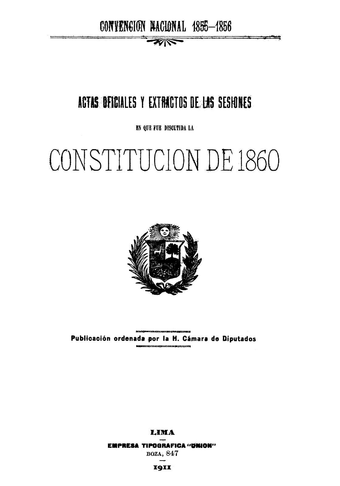 Actas oficiales y extractos de las sesiones en que fue discutida la Constitución de 1860 (1856)