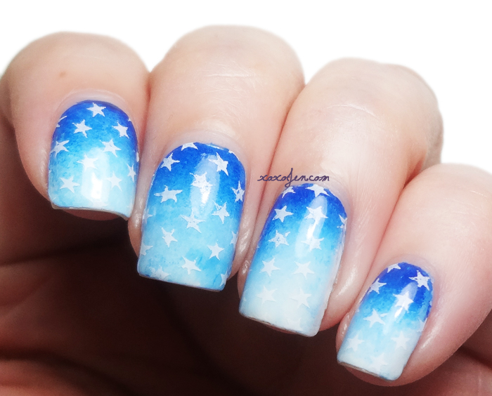 xoxoJen's swatch of stamped stars mani
