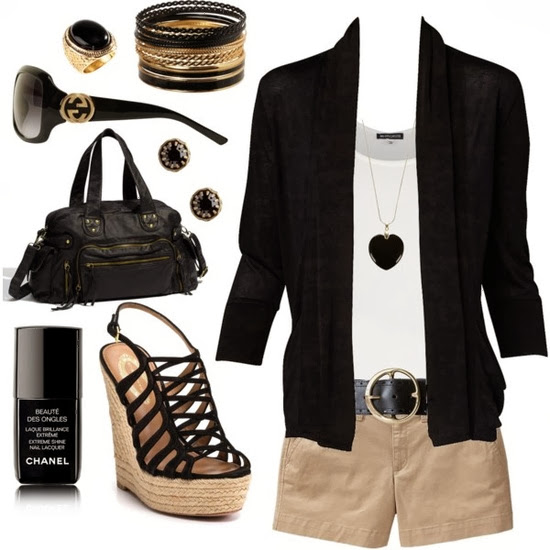 Black jacket, white blouse, brown shorts, handbag and high heel sandals