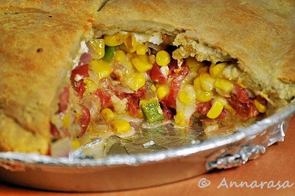Annarasa ~ Essence of Food: Summer Sweet Corn and Tomato Pie