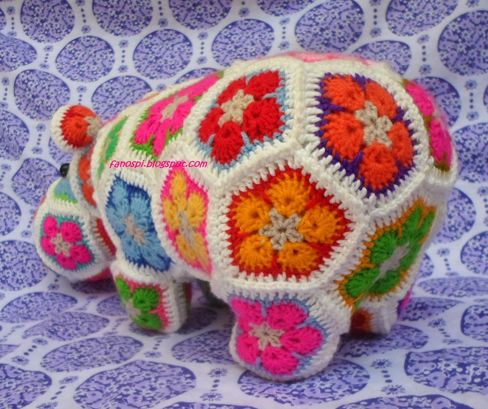 Neryosp: HIPOPOTAMA DE FLORES AFRICANAS (Crochet)