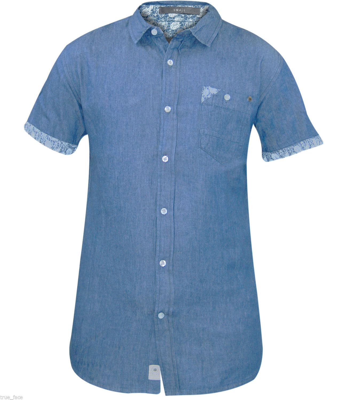 Mens Crosshatch Shirt Check Short Sleeve Collar Best Casual Cotton Top Size S-M