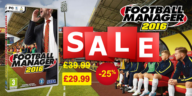 Get Football Manager 2016 for only £29.9 or €42.8