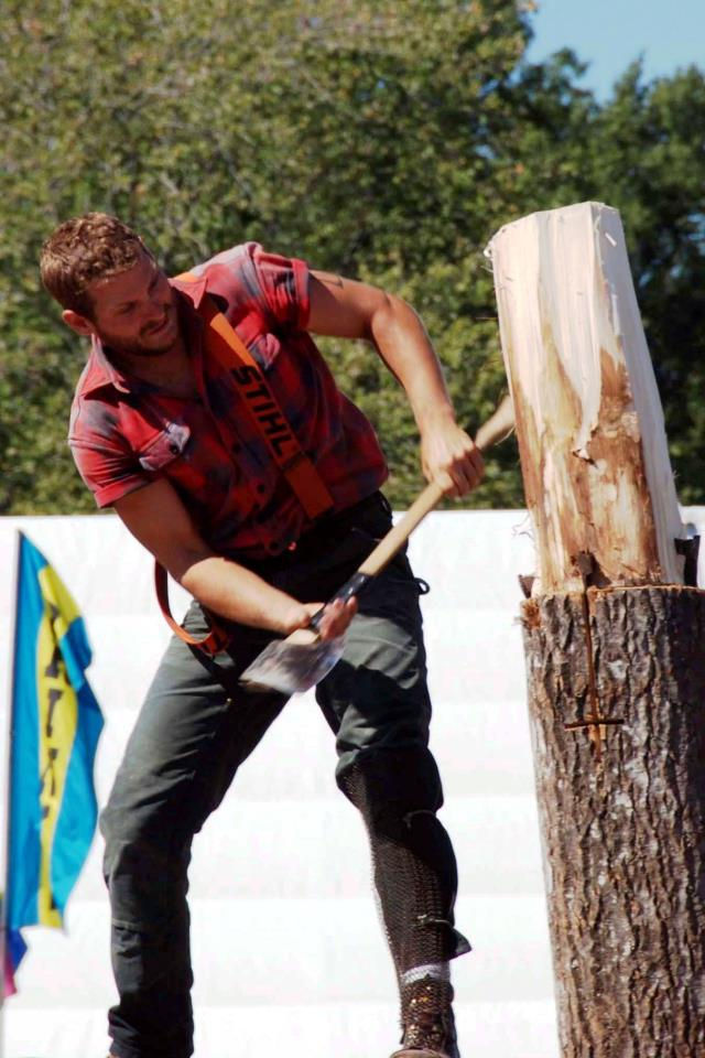 lumberjack, axe, wood, plaid, beard, suspenders, boots, chopping