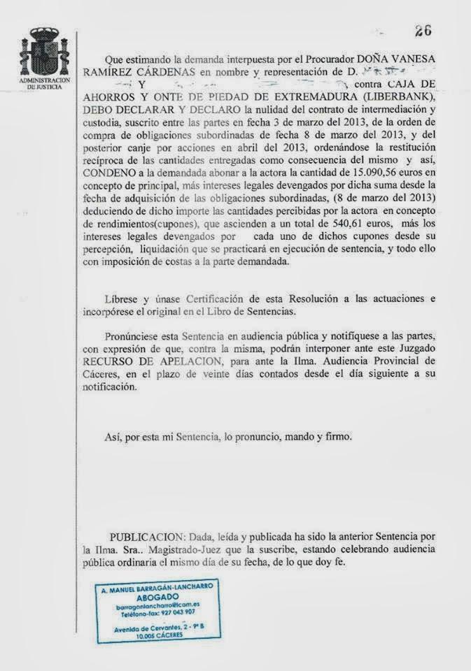 Barrag n lancharro abogados c ceres primera condena de for Caja de extremadura oficinas