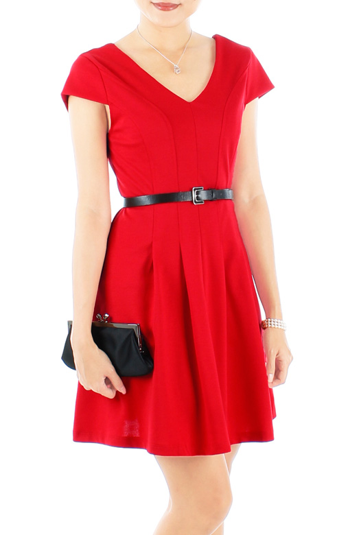 Crimson Red ASOS-inspired V-neck Flare Dress with Cap Sleeves