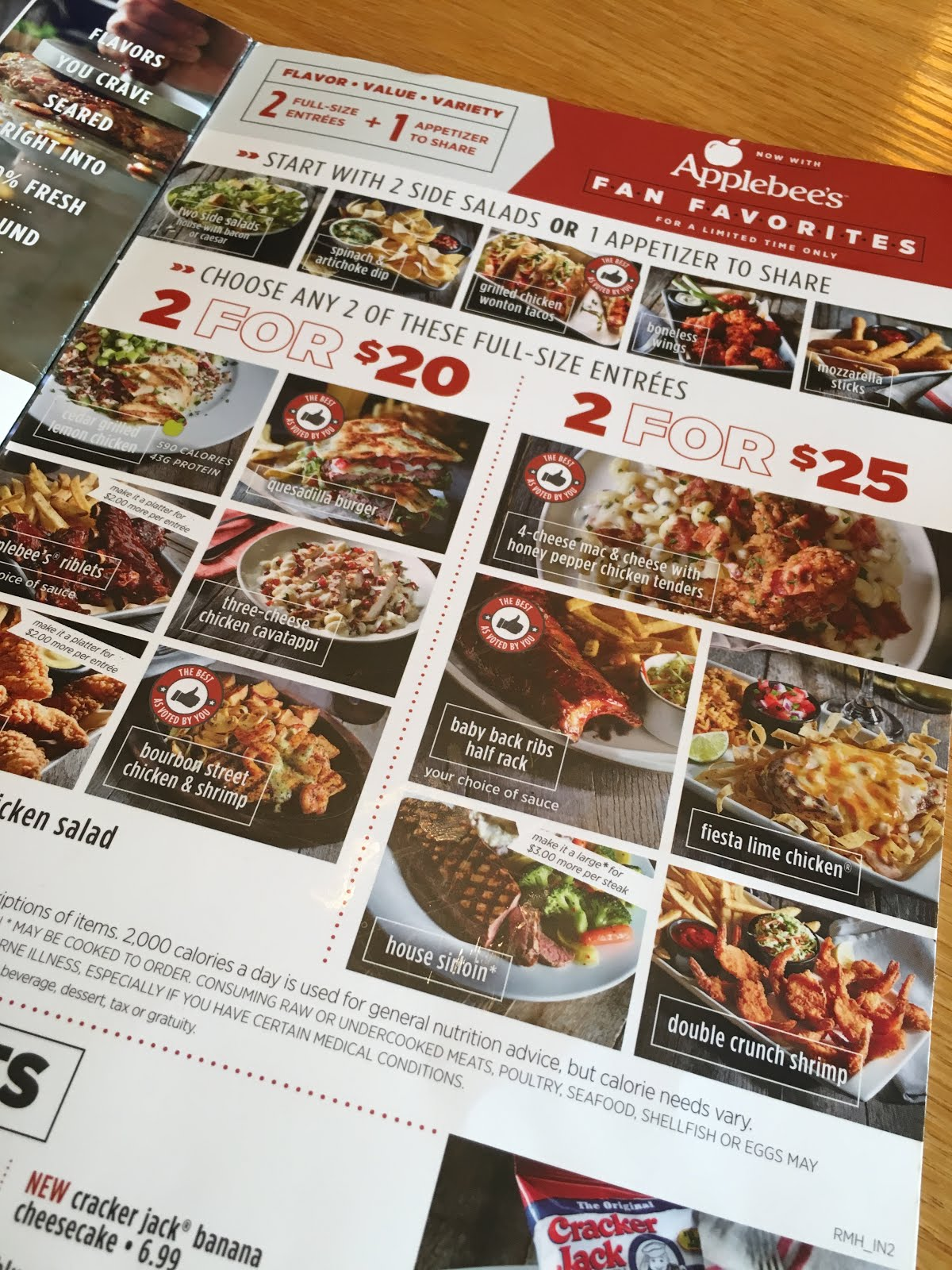2 for $20 at applebees