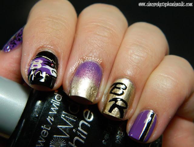 baltimore ravens nail art