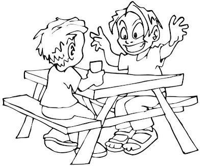 Amigos compartiendo Picnic para colorear ~ 4 Dibujo
