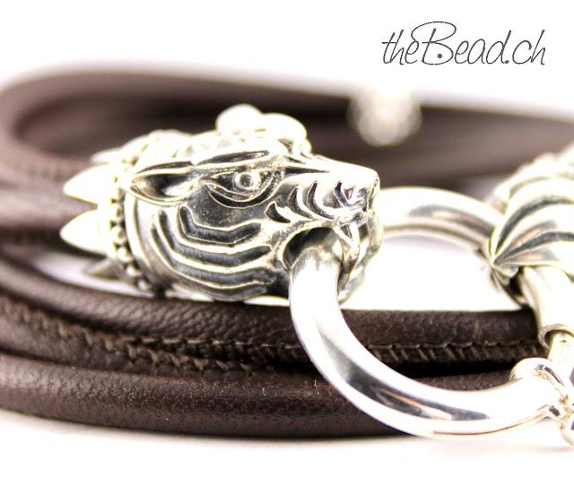 Wunderschönes Armband mit mächtigem Tiger aus Silber