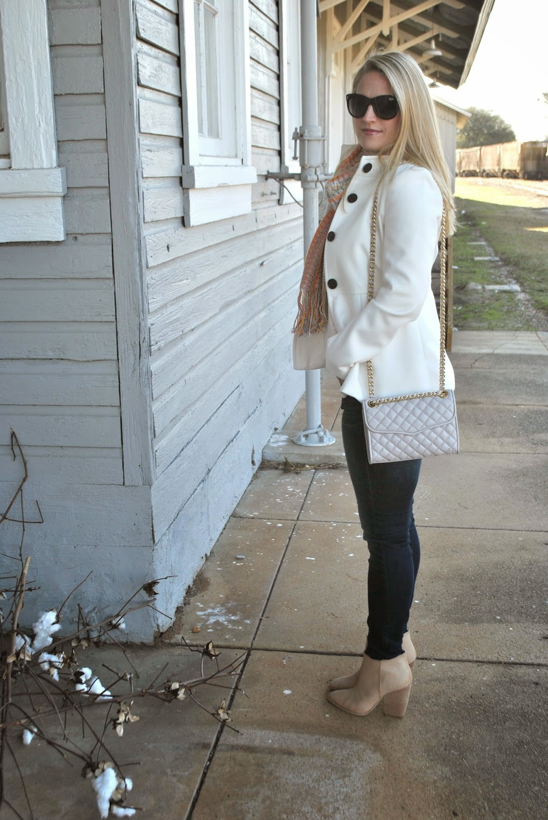 Missoni Scarf, Rebecca Minkoff Quilted Handbag, Ankle Boots, J Crew Sunglasses