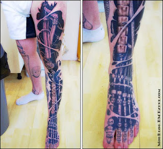 cyborg leg tattoo