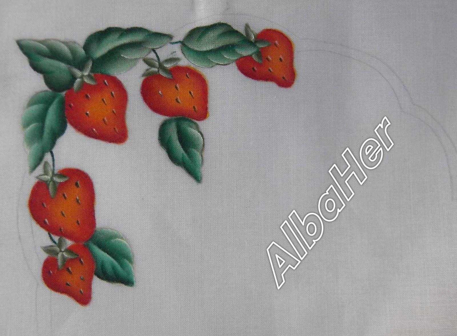 Panera con fresas parte 1 2 pintura y manualidades - Pintura en tela motivos navidenos ...