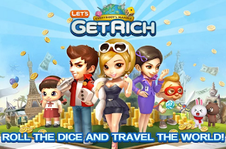 Screenshots of the LINE Let's Get Rich for Android tablet, phone.