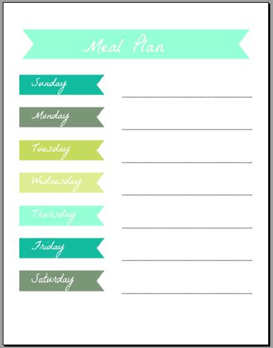Meal Plan Printables - ms. taylor elyse