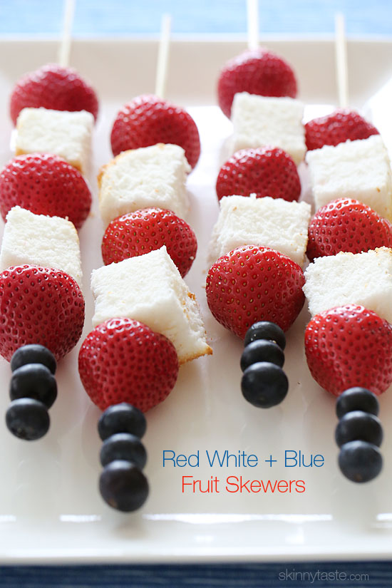 Red White and Blue Fruit Skewers with Cheesecake Yogurt Dip ...