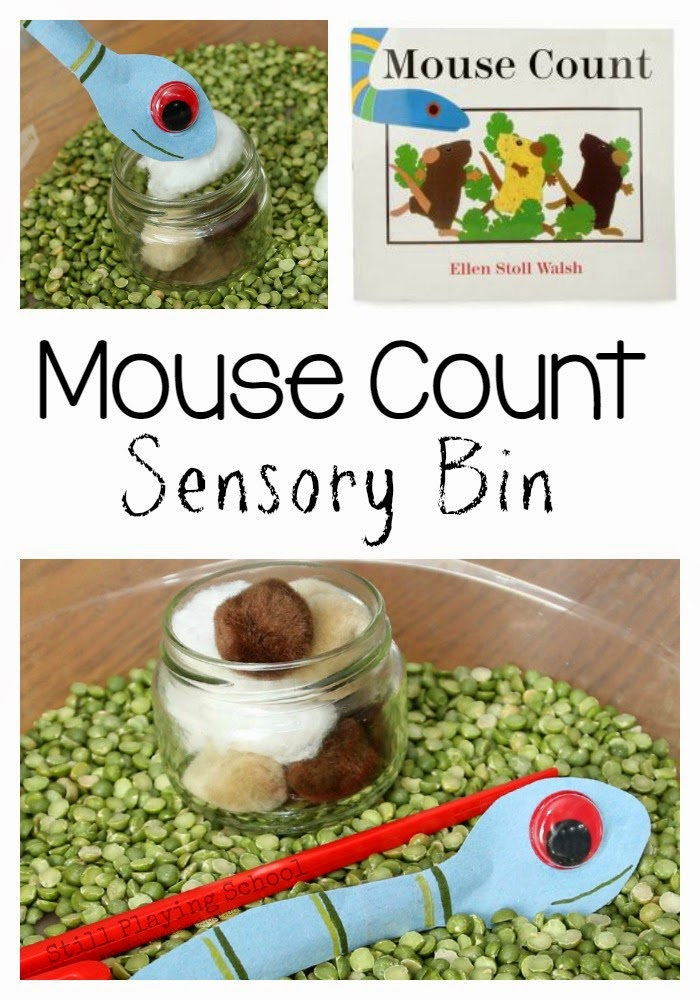 Mouse Count Sensory Bin by Still Playing School