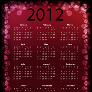 Calendar 2012 - Calender 2012 - Kalender 2012 | Black and White Vector