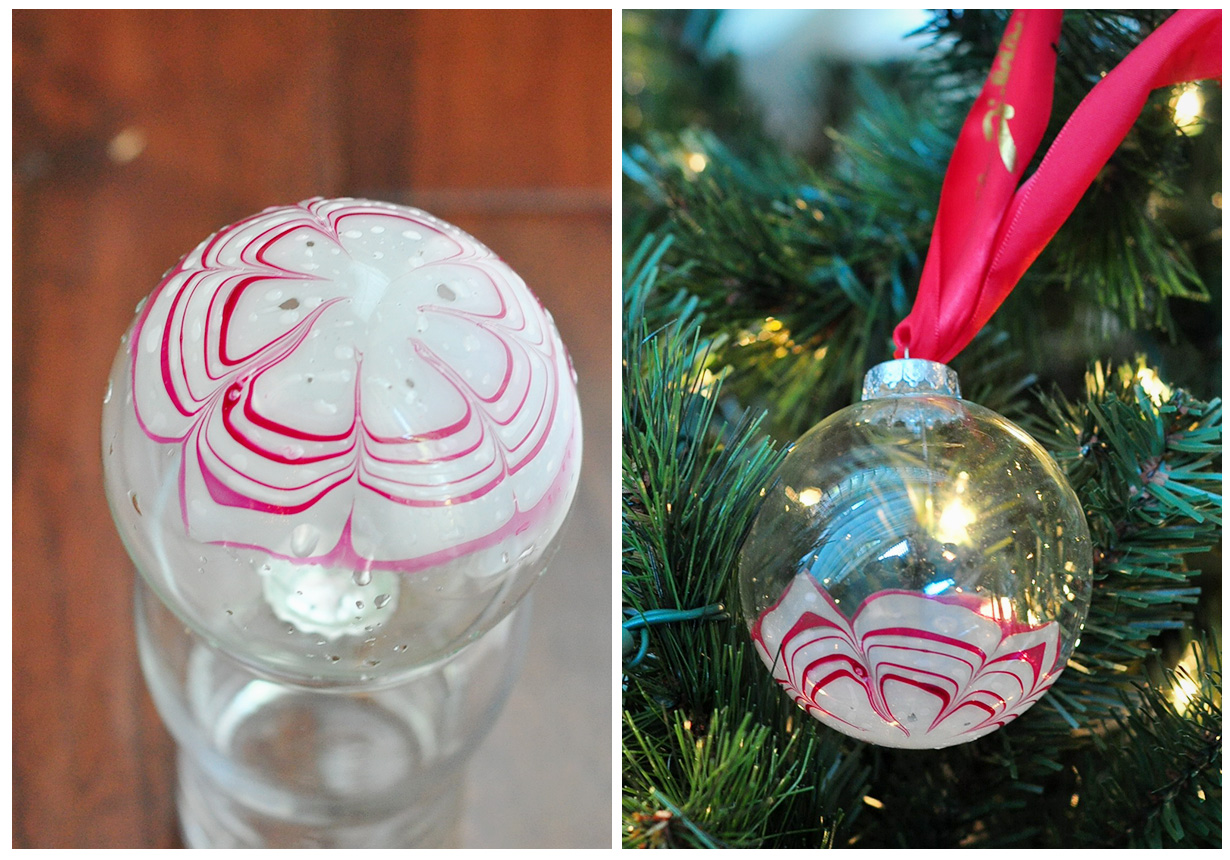 The Cheese Thief Candy Cane Marbled Monogram Ornaments