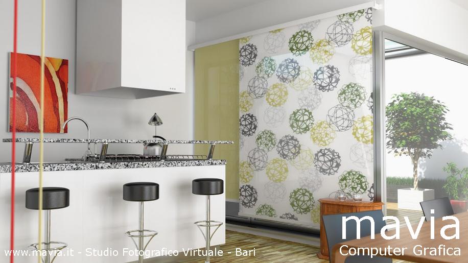 Arredamento di interni rendering 3d interni modellazione 3d e rendering 3d di una cucina - Tende cucina moderna ...