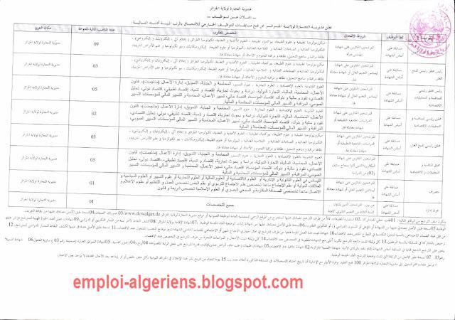 إعلان عن مسابقة توظيف في مديرية التجارة لولاية الجزائر جانفي 2016