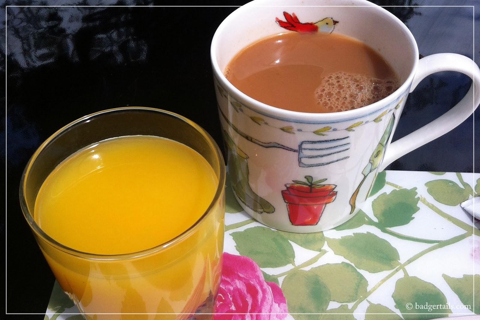 breakfast drinks in summer garden