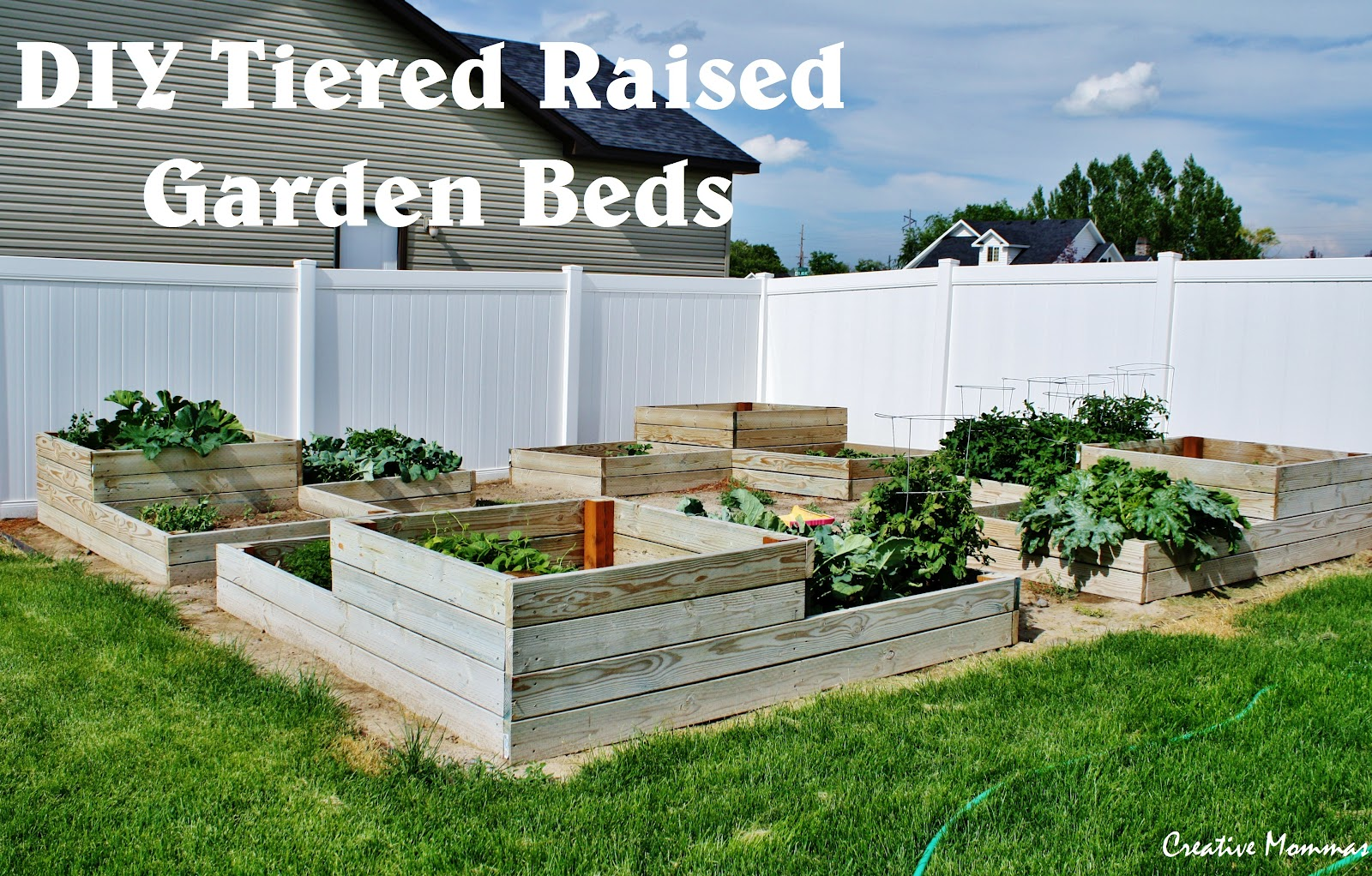 Creative mommas diy tiered raised garden beds for Home garden box design