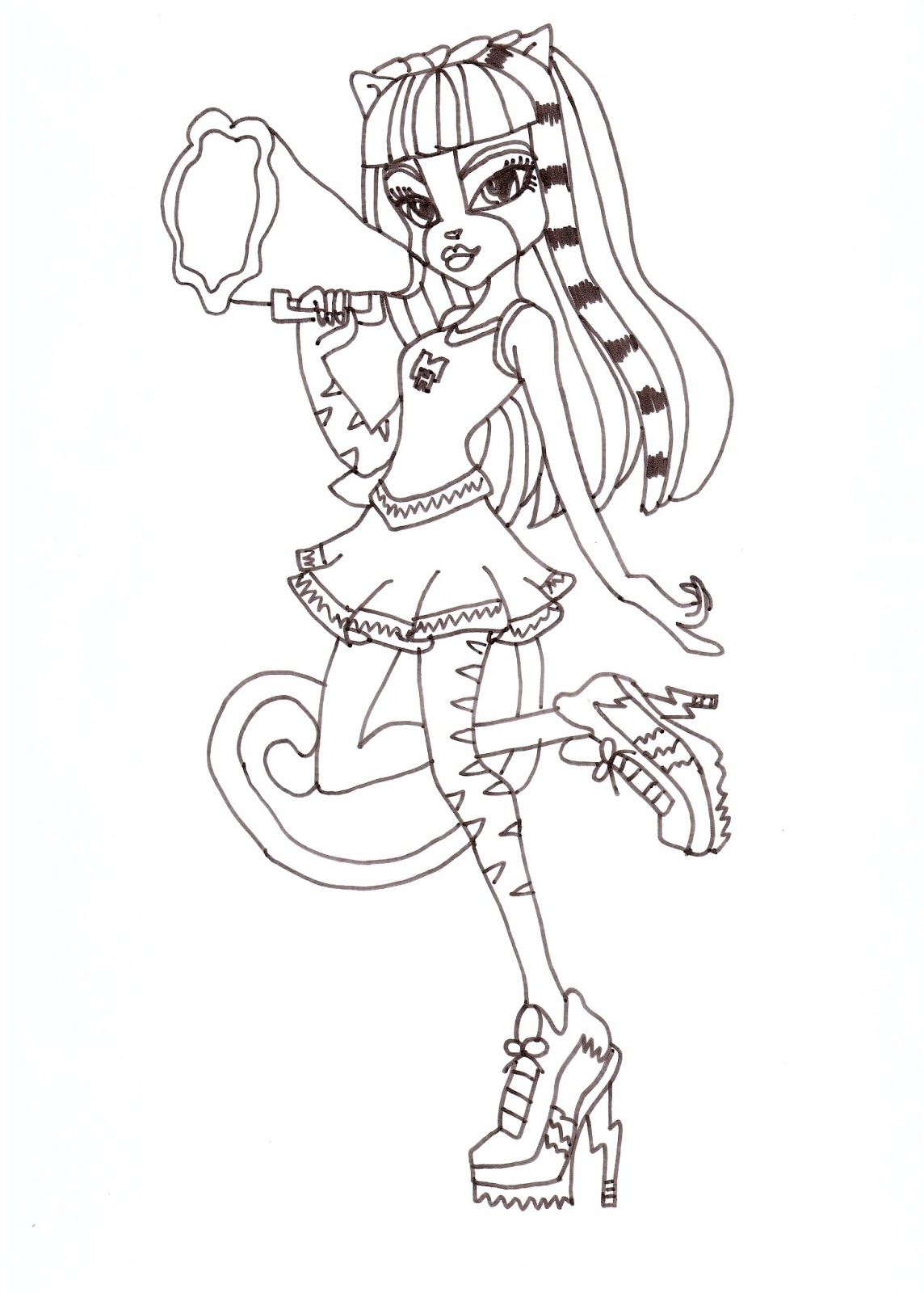 meowlody fearleading werecats coloring sheet click here to print