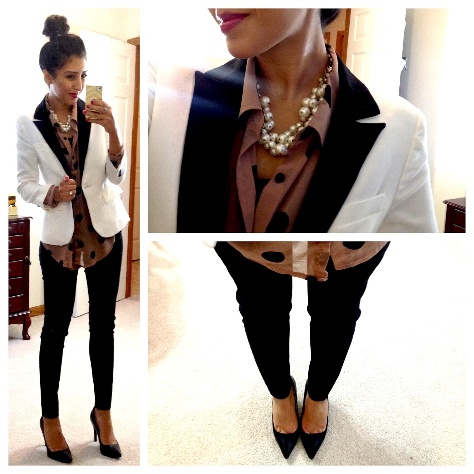 F21 polka dot blouse in tan f21 tuxedo jacket the limited skinny