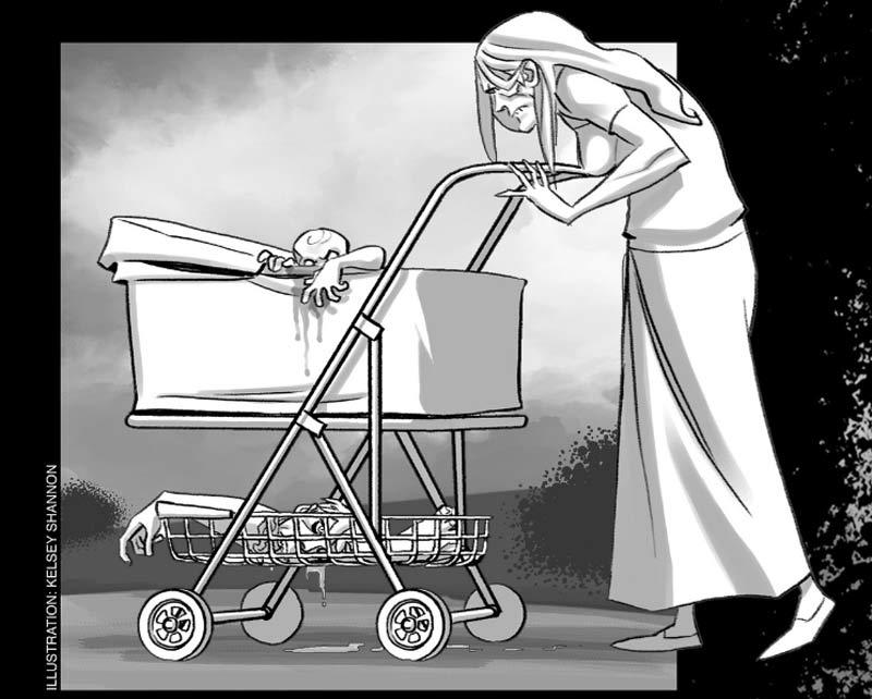 Madre zombie empujando su carretillo