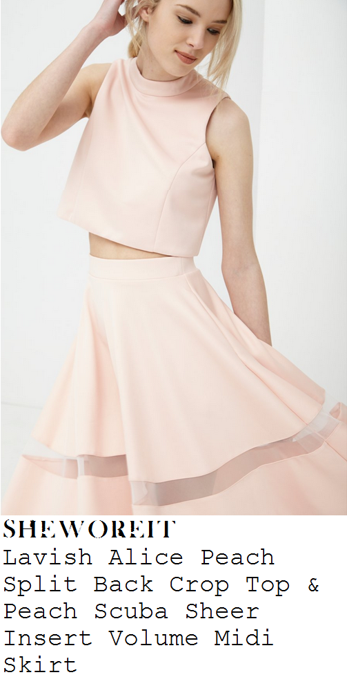 ferne-mcann-peach-pink-high-neck-sleeveless-crop-top-and-full-sheer-stripe-midi-skirt-co-ords