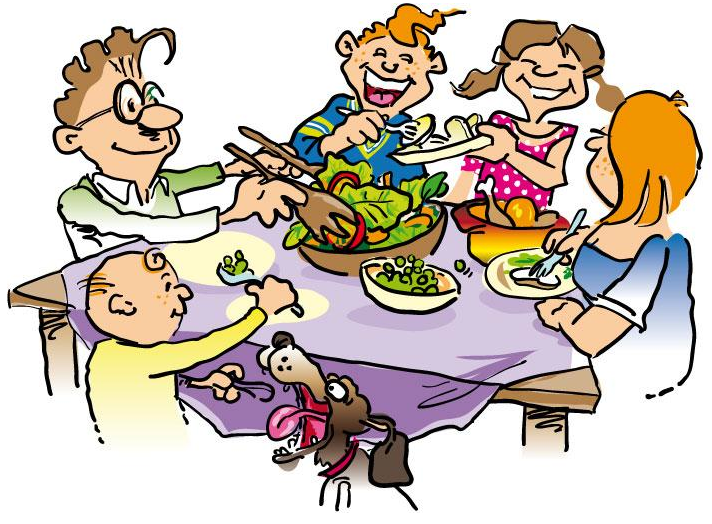 Family eating together on dinning table in a calm and settled environment
