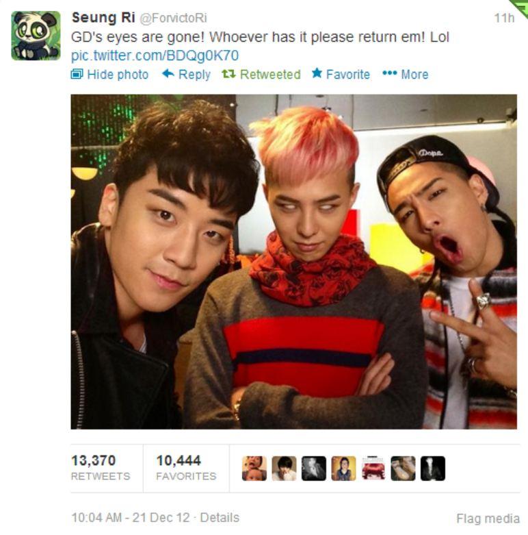 Seungri's tweet 121221