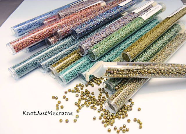Semi glazed toho seed beads.