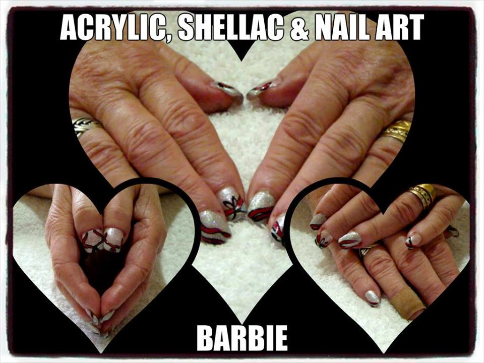 Acrylic-shellac-silver-foil-colorful-nail-art