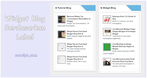 Cara memasang dan cara membuat Widget Perlabel Berdasarkan Kategori di Blogger