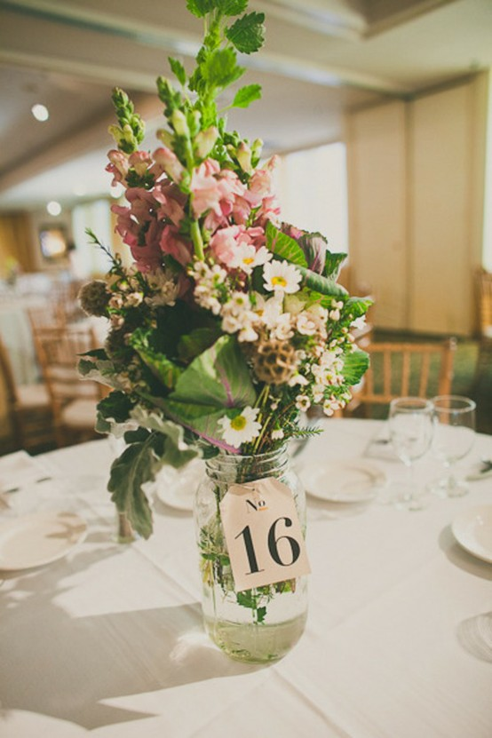 Mason Jar Wedding Ideas - Table Numbers Mason Jar Centerpiece