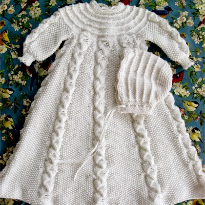 Folded Ribbon Christening Gown