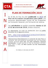 PLAN DE FORMACIÓN 2019