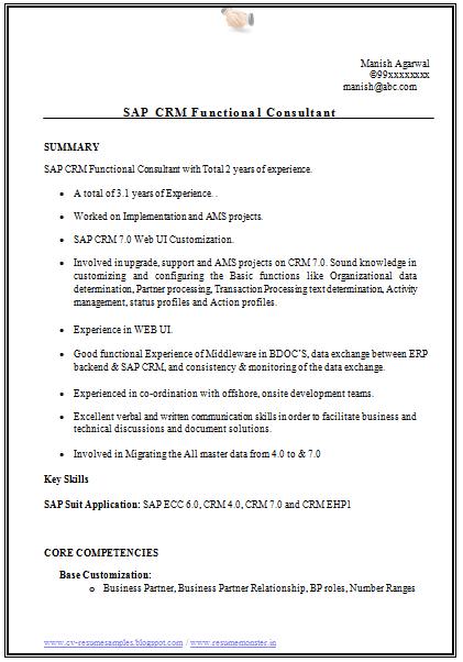 exemple cv crm