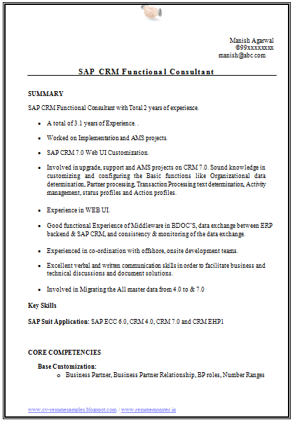 Over 10000 CV and Resume Samples with Free Download: SAP CRM Resume