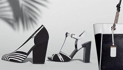Arezzo coleção Cruise Collection verão 2014 scarpin com listras e sandália P&B