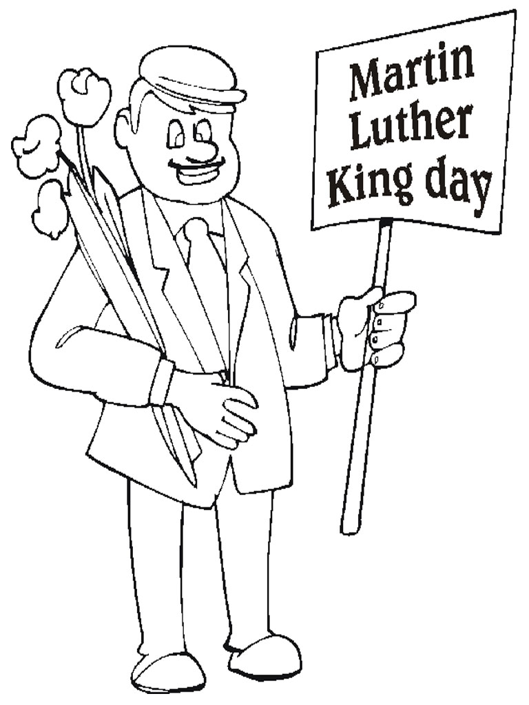Martin Luther King March Coloring Sheet