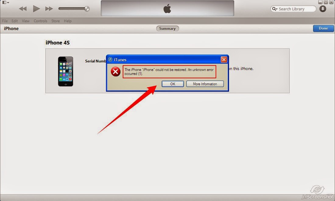 iphone 5s could not be restored unknown error 1