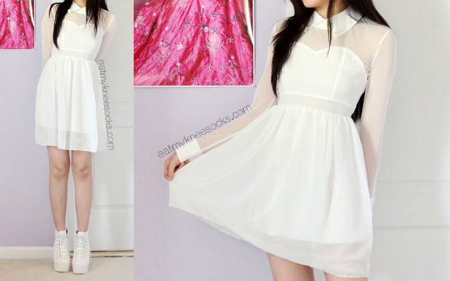 The WalkTrendy white mesh dress, modeled with a pair of Jeffrey Campbell Lita-dupe spiked platform booties.