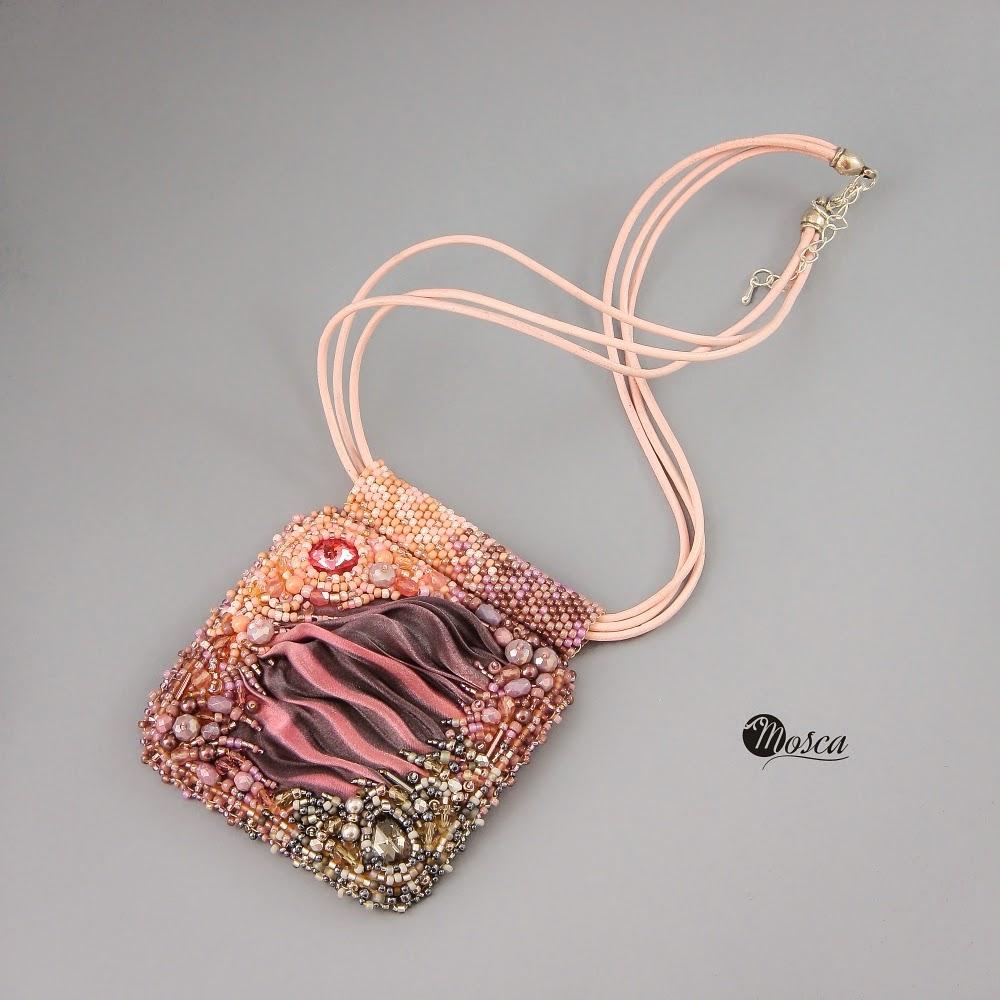 shibori silk ribbon - pendant