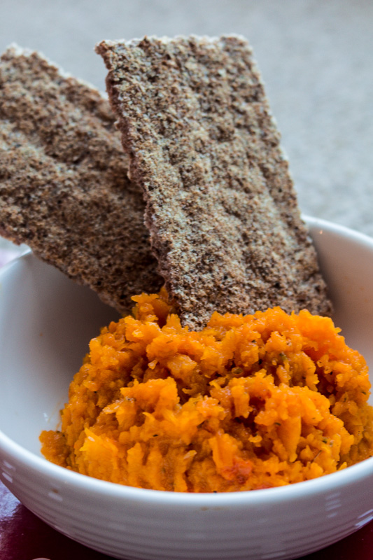 Roasted butternut pumpkin mash, use it for a spread on crispbread