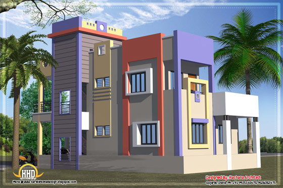 India house plan back view - 1582 Sq.Ft. - April 2012
