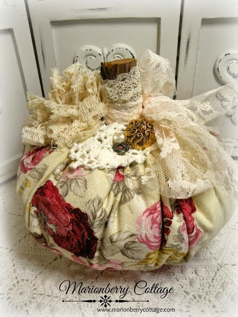 Norfolk Rose Bejeweled Fabric Pumpkin by Marionberry Cottage via Prodigal Pieces http://www.prodigalpieces.com